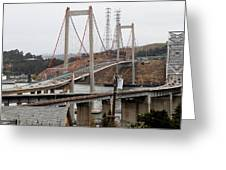 The New Alfred Zampa Memorial Bridge And The Old Carquinez Bridge . 7d8915 Greeting Card by Wingsdomain Art and Photography