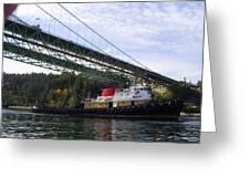 The New Tacoma Narrows Bridge - Crowley Tug Greeting Card