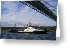 The New Tacoma Narrows Bridge - Foss Tug Greeting Card