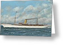 The New York Yacht Club Steam Yacht Vanadis At Sea Greeting Card