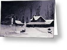 The Night Before Christmas Silvertoned Greeting Card