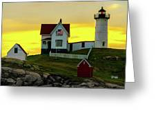 The Nubble Cape Neddick Lighthouse In Maine At Dawn Greeting Card