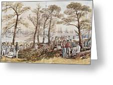 The Officers And Seaman Of The Fleet On Shore At Nargen Greeting Card