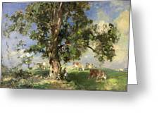 The Old Ash Tree Greeting Card by Edward Arthur Walton
