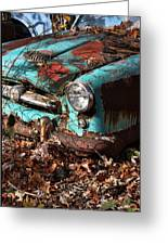 The Old Blue Car Greeting Card