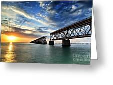The Old Bridge Sunset - V2 Greeting Card