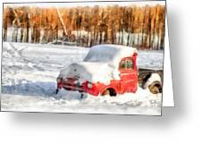 The Old Farm Truck In The Snow Greeting Card