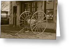 The Old Fire House Sepia Greeting Card