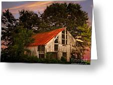 The Old Lowdermilk Barn - Red Roof Barn Rustic Country Rural Antique Greeting Card by Jon Holiday