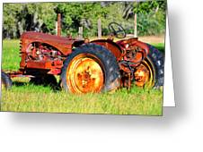 The Old Tractor In The Field Greeting Card