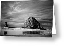 The Ominous Haystack Rock Greeting Card
