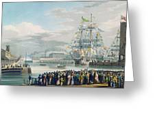 The Opening Of Saint Katharine Docks Greeting Card