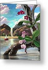 The Orchids And The Sailboat Greeting Card