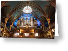 The Organ Inside The Notre Dame In Montreal Greeting Card