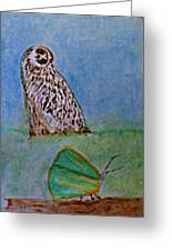 The Owl And The Butterfly Greeting Card