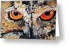 The Owl Of Lakshmi Textured Painting_0476 Greeting Card