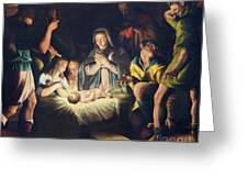 The Painting Of Nativity By Pier Maria Bagnadore Greeting Card