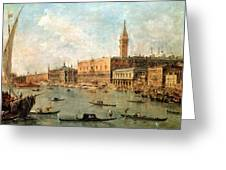 The Palace And The Molo From The Basin Of San Marco Greeting Card