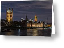 The Palace Of Westminster By Night Greeting Card