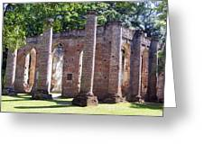 The Palmetto Phoenix Old Sheldon Church Ruins Greeting Card by Elena Tudor