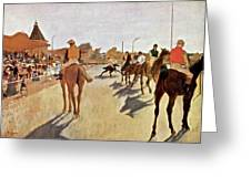 The Parade, Digitally Enhanced Highest Resolution,race Horses In Front Of The Tribune, Edgar Degas Greeting Card