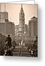 The Parkway In Sepia Greeting Card by Bill Cannon