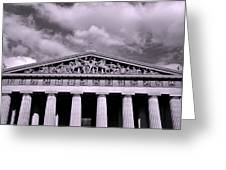 The Parthenon In Nashville Tennessee Black And White Greeting Card