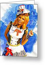 The Patriotic Fashion Girl Greeting Card