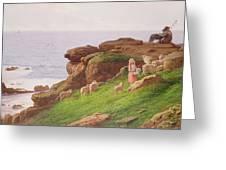 The Pet Lamb Greeting Card by J Hardwicke Lewis