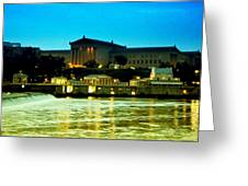 The Philadelphia Art Museum And Waterworks At Night Greeting Card