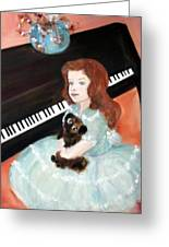 The Pianist And Her Pekinese Greeting Card