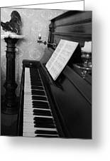 The Piano - Black And White Greeting Card
