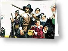 The Pilgrim Fathers Arrive In America Greeting Card