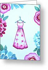 The Pink Floral Dress Greeting Card