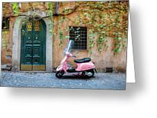 The Pink Vespa Greeting Card