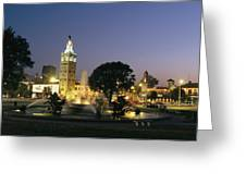 The Plaza In Kansas City, Mo, At Night Greeting Card