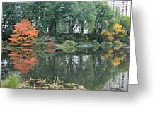 The Pond In Central Park In Fall Greeting Card