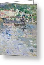 The Port At Nice Greeting Card by Berthe Morisot