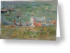 The Port Of Gorey On Jersey Greeting Card by Berthe Morisot