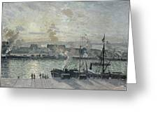 The Port Of Rouen Greeting Card by Camille Pissarro