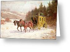 The Post Coach In The Snow Greeting Card by Fritz van der Venne