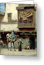 The Pottery Seller In Old City Greeting Card
