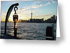 The Precision Of Sunset In The Harbour Greeting Card