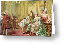 The Presentation Of The Young Mozart To Mme De Pompadour At Versailles Greeting Card