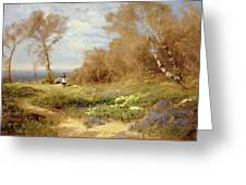 The Primrose Gatherers Greeting Card