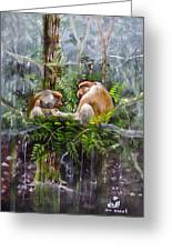 The Probosis Monkey Family Greeting Card