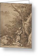 The Prodigal Son Kneeling Repentant Among Swine Greeting Card