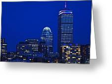 The Pru Lit Up In Red White And Blue For The Fourth Of July Greeting Card