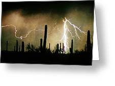 The Quiet Southwest Desert Lightning Storm Greeting Card