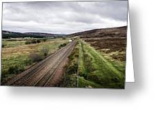 The Railroad To....in Scotland With Clouds Hanging Over The Mountains. Greeting Card